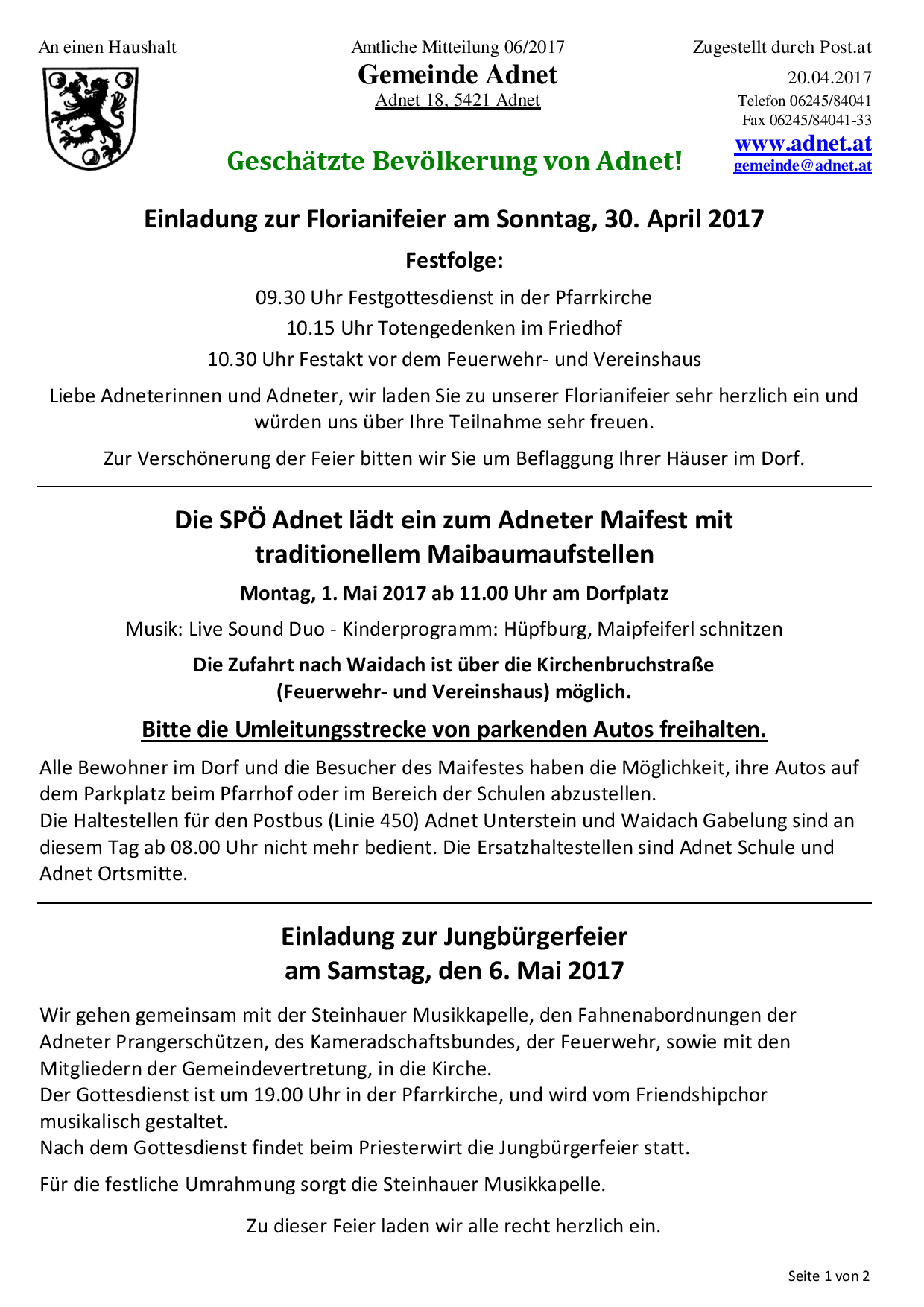 Amtliche Mitteilungen - Gemeinde Adnet